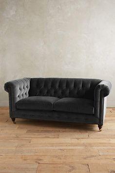 Velvet Lyre Chesterfield Petite Sofa, Hickory - anthropologie.com