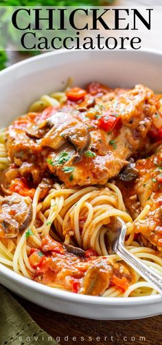 Really good Chicken Cacciatore is one of the most satisfying, delicious and comforting Italian dishes you can make at home. Great served with spaghetti or over polenta. dinner mushroom Chicken Cacciatore - Saving Room for Dessert Cacciatore Recipes, Italian Chicken Cacciatore, Best Italian Dishes, Italian Recipes, Pasta Dishes, Food Dishes, Cooking Recipes, Healthy Recipes, Earthy