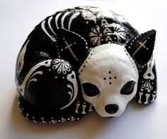 Day of the Dead Chihuahua by thehouseofsugar on Etsy, $60.00 ---  love this - want to see if I can make one for myself.