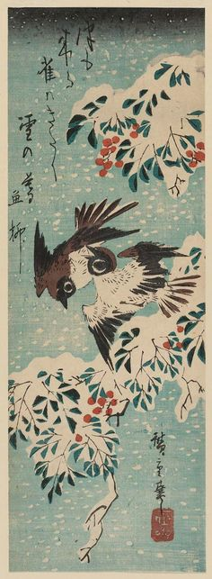 Sparrows and Nandina in Snow  雪中南天に雀 Utagawa Hiroshige I