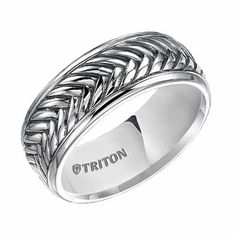 Triton 7mm Sterling Silver Ring with Rails and Black Oxidation
