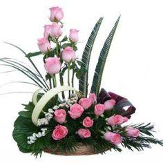 25 Pink Roses of Basket