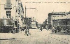 """CPA FRANCE 34 """" Montpellier, Place de l'Observatoire et rue de la République"""". Montpellier, Rue, Place, Street View"""