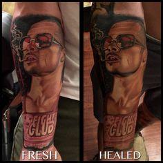 """And here is another FRESH/HEALED tattoo of brad Pitt from fight club I did about a month ago thanks for viewing! #tattoos#tattoo#tattooart#bradpitttattoo#realismtattoos#realistictattoos#dope#dopetattoos#cool#cooltattoos#portraittattoos#fightclub#bradpitt#tolleson#tollesonart#az#azartist#arizonaart#arizonaartist#stencilstuff"" Photo taken by @richardsancheztattoo on Instagram, pinned via the InstaPin iOS App! http://www.instapinapp.com (01/26/2015)"