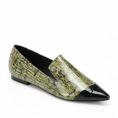 Tibi Olive Embossed Flats New in box. Size 9. Color: Olive Multi. Features an exotic embossed upper with patent toe cap. Gorgeous!  Last photo shows same style, diff color.  Perfect for work to night transition and pairs with almost any outfit! Tibi Shoes Flats & Loafers