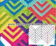 Paso a paso de punto geométrico crochet   Crochet y dos agujas