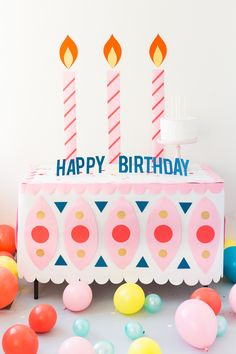 Birthday Cake Paper Tablecloth - The House That Lars Built Pretty Birthday Cakes, Happy Birthday Cakes, Happy Birthday Wishes, Diy Birthday, Birthday Greetings, First Birthday Parties, Birthday Party Decorations, First Birthdays, Birthday Gifts