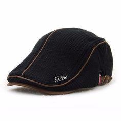 Men Women Wool Knitting Beret Caps Newsboy Buckle Adjustable Casual Outdoors  Peaked Hat Visor Cap 738586c149e2