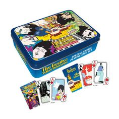 Deal with the Blue Meanies and other iconic cartoon characters with this handsomely packaged deck of The Beatles cards based on the movies. The Beatles Yellow Submarine Playing Card Tin Set will make