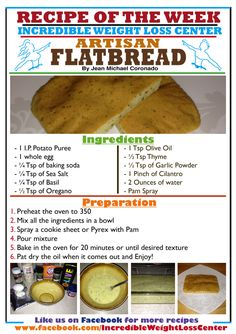 RECIPE OF THE WEEK- ARTISAN FLATBREAD - Incredible Weight Loss Center