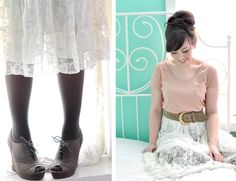 love white dresses with black tights