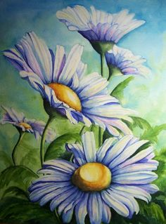 """Daisy Blue""  Watercolor Print Available Conni Reinecke conniswatercolors.com 