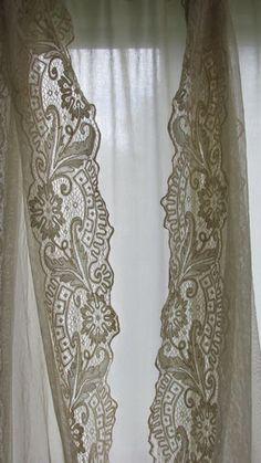 Antique Victorian Tambour Net Lace Long Curtain 3 Panels | eBay