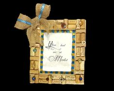 Wine Cork Frame  Hand Made Cork and Button by enchantedezignstudio