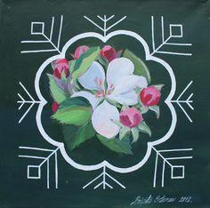 Traditional Latvian folk symbols with an apple blossom on green. Acrylic on canvas, 40x40cm.
