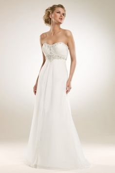 Sans bretelles sexy col en cœur en cristal poitrine plissé empire ceinture jupe simple traîne courte ajustée en mousseline robe de mariée