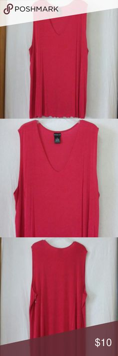 """Citiknits women plus size 2x stretch tank top Barely worn, sleeveless, raspberry, acetate and spandex, chest 56"""", length 28"""" citiknits Tops Tank Tops"""