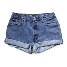 Vintage 90s Levi's medium/dark Blue Wash High Waisted Rise Cut Offs... ($49) ❤ liked on Polyvore featuring shorts, bottoms, pants, denim shorts, grey, women's clothing, cut-off jean shorts, high-waisted shorts, high rise denim shorts and vintage denim shorts