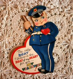 Policeman Valentine Beating Heart Movable Card by LynneRetroRoom