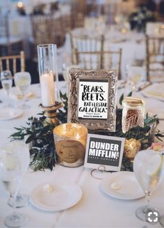 The Office themed wedding centerpiece! Office Themed Party, Office Birthday, Winter Wedding Favors, Unique Wedding Favors, Wedding Ideas, Wedding Decoration, Rustic Wedding, Wedding Stuff, The Office Wedding