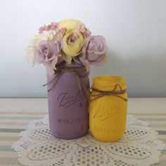Lavender and Yello mason jar vases, wedding, country decor https://www.etsy.com/listing/243520042/lavender-and-yellow-mason-jar-vases
