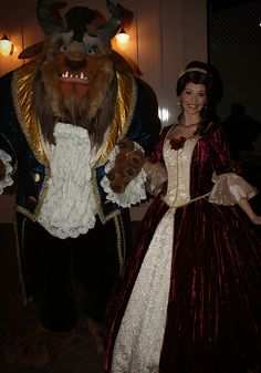 Belle and Beast. She hardly ever wears her Christmas dress anymore.