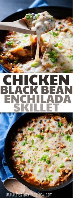 Simple, zippy, and quick! This one pan chicken and black bean enchilada skillet will appease even the pickiest of eaters with ALL. THAT. CHEESE. I mean, look at it! :)