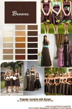 inspirations and ideas for accents to the color Brown for your wedding or event