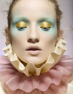 Alek Alexeyeva mint and yellow makeup