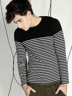 04163a2e Buy Ecko Unltd Black & White Cotton Full Sleeves Striped T-shirt online in  India at best price.Black and white striped waist length T-shirt, ...