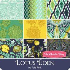 Lotus Eden Fat Quarter Bundle Tula Pink for Free Spirit Fabrics - Free Spirit… Quilt Block Patterns, Pattern Blocks, Quilt Blocks, Tula Pink Fabric, Free Spirit Fabrics, Amy Butler, Fat Quarter Shop, Fat Quarters, Quilting Ideas