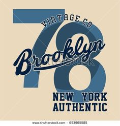 Design letters and numbers brooklyn new york authentic for t-shirts
