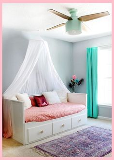A Colorful Tween Girl's Bedroom Makeover — Tag & Tibby Design Girl's bedroom with SW Misty blue paint & Cranbrook ceiling fan Blue Teen Girl Bedroom, Teen Girl Bedrooms, Girl Room, Tween Girl Bedroom Ideas, Girl Bedroom Paint, Girls Bedroom Canopy, Tween Beds, Girls Daybed, Blue Girls Rooms