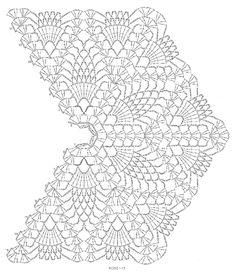 Amazing Crochet Lace, Blue Curacao Shawl, stitch diagram Rows 1-15