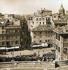 Tram SRTO in piazza di Spagna anno 1920 ca