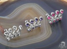 Gemmed Crown Barbell Tragus, Barbell, Gauges, Art Forms, Pandora Charms, Body Art, Gems, Charmed, Crown