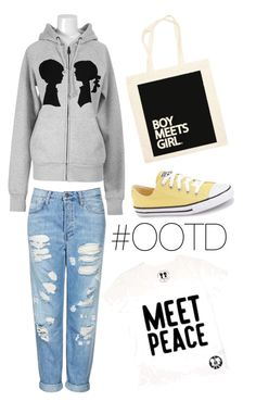 """#OOTD (2/18/16)"" by boymeetsgirlusa ❤ liked on Polyvore featuring Topshop, Boy Meets Girl, Converse, women's clothing, women, female, woman, misses and juniors"