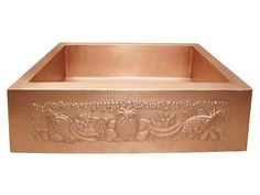 Starting at $1,125 - This single well farmhouse sink has the whimsical Tropical Motif. All of our farmhouse sinks are works of art in hand-hammered in 14 gauge, lead-free copper by 3rd generation coppersmiths. It is the thickest copper available on the market, so you don't need to worry about a metallic drumming sound as water flows into your sink. Our sinks are TIG copper welded.