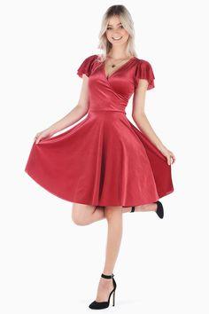 98305f95df6 All That Glitters Velvet Red Wrap Longline Dress BM - Limited
