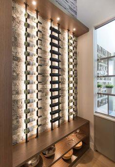 Calbridge Homes in collaboration with Rochelle Cote Interior Design created this beautiful contemporary home in Calgary, Alberta, Canada. Glass Wine Cellar, Home Wine Cellars, Wine Cellar Design, Wine Cellar Modern, Wine Rack Wall, Wine Wall, Under Stairs Wine Cellar, Modern Home Bar, Regal Design