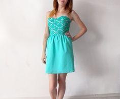 Bridesmaid dress aqua blue bridesmaid dress short by ANAdeRo, $99.00