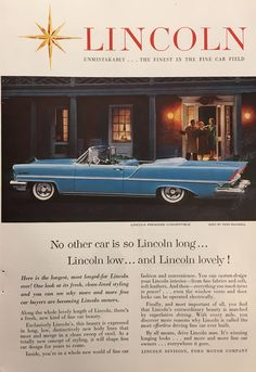 """1957 Lincoln """"Lincoln Long, Lincoln Low, Lincoln Lovely"""" Vintage Magazine Ad from National Geographic"""