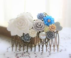 Bridal Hair Comb Wedding White Pearl Blue Tan Flower by Jewelsalem, $19.00