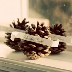 Neat idea, could see it used in a winter wedding. Could even be used as seating assignments.