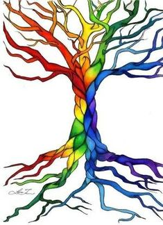 New Celtic Tree Of Life Drawing Trunks Ideas Rainbow Tree, Life Tattoos, Drawings, Tree Painting, Painting, Art, Celtic Tree Of Life, Rainbow, Tree Of Life Tattoo