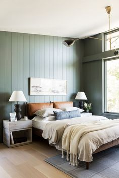 Home Interior Living Room sage green shiplap in the bedroom.Home Interior Living Room sage green shiplap in the bedroom Bedroom Green, Green Rooms, Taupe Bedroom, Dark Master Bedroom, Green Bedroom Design, Simple Bedroom Design, Nautical Bedroom, Bedroom Country, Bedroom Small