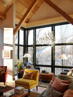 Blurring the line between indoors & out, the glass enclosed observation room - a treetop getaway - provides a front-row seat to Stowe's ever-changing seasons - HGTV Dream home 2011