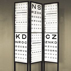 This Room Divider constructed from vintage military eye charts is such a clever idea. http://www.optiekvanderlinden.be