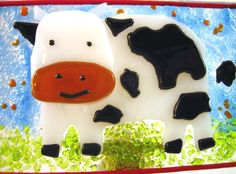 Black And White Cow Night Light - by Ralphie's Fused Glass