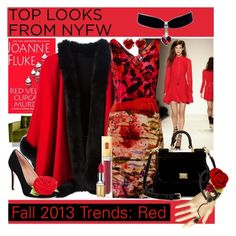 """""""My favorite NYFW look + Makeup Tutorial Spanish Rose"""" by yours-styling-best-friend ❤ liked on Polyvore featuring Shoshanna, Elizabeth Arden, Marissa Webb, 32 Paradis Sprung Frères, RED Valentino, Erdem and Dolce&Gabbana"""